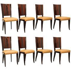 Set of Eight Art Deco Macassar Chairs