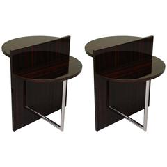 French Art Deco Walnut and Chrome Side Tables