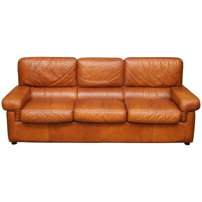 Italian Mid-Century Leather Sofa For Sale At 1stdibs