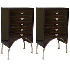 Art Deco Chests of Drawers in Macassar and Walnut