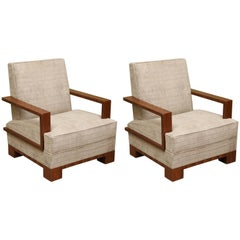 Art Deco Walnut Hungarian Armchairs