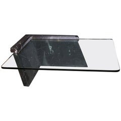 Italian Art Deco Glass and Marble Coffee Table