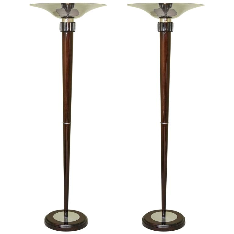 Pair of art deco french torchiere floor lamps for sale at for 1940s torchiere floor lamp