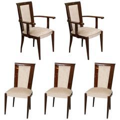 Set of Ten Art Deco Dinning Chairs in Beechwood