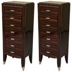 Two French Art Deco Chest of Drawers from Macassar wood