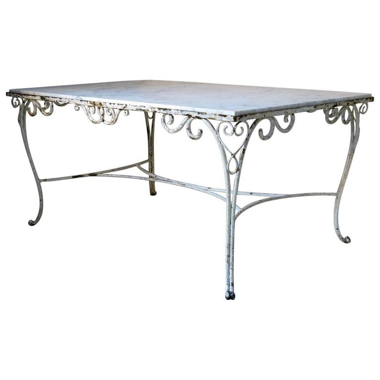 French 1940s Iron and Marble Table