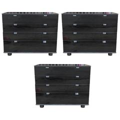 Black Lacquer Set of Three Modern Chests with Leather Handles