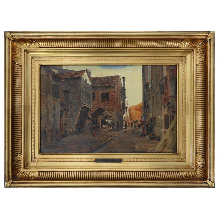 I.T. Hansen, Oil Painting, Street in Chioggia by Venice, Italy, 1889 For Sale