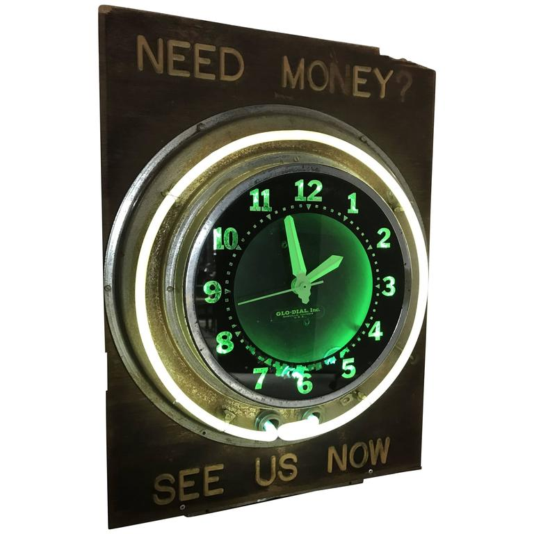 Antique Pawn Shop Sign with Art Deco Glo-Dial Neon Clock