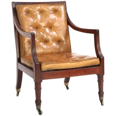George III Mahogany & Cane Arm or Library Chair, England, c. 1800