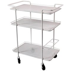 French Three-Tier Perforated Metal Trolley, 1950