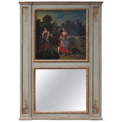 French Painted and Gilt Decorative Floral Trumeau Mirror, Circa 1780