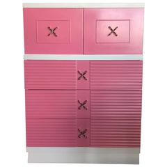 Mid-Century Pink and White Tall Chest of Drawers Dresser by Martinsville