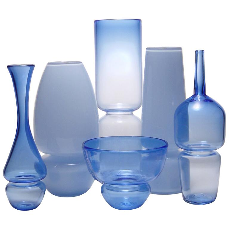 Blue Groove Series Set Of Six Handmade Modern Glass Design Vases