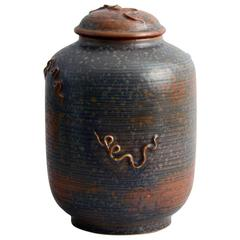 Large Lidded Jar with Matte Glaze by Ebbe Sadolin for Bing and Grondahl, 1930s