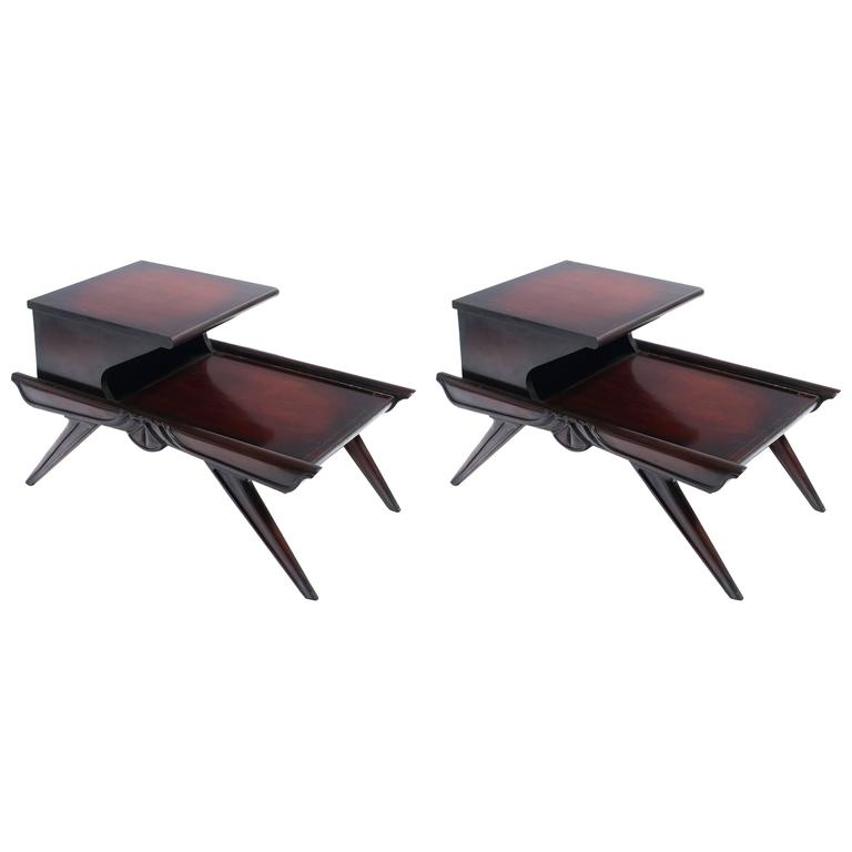Pair Of 1940s Mahogany Step Side Tables For Sale