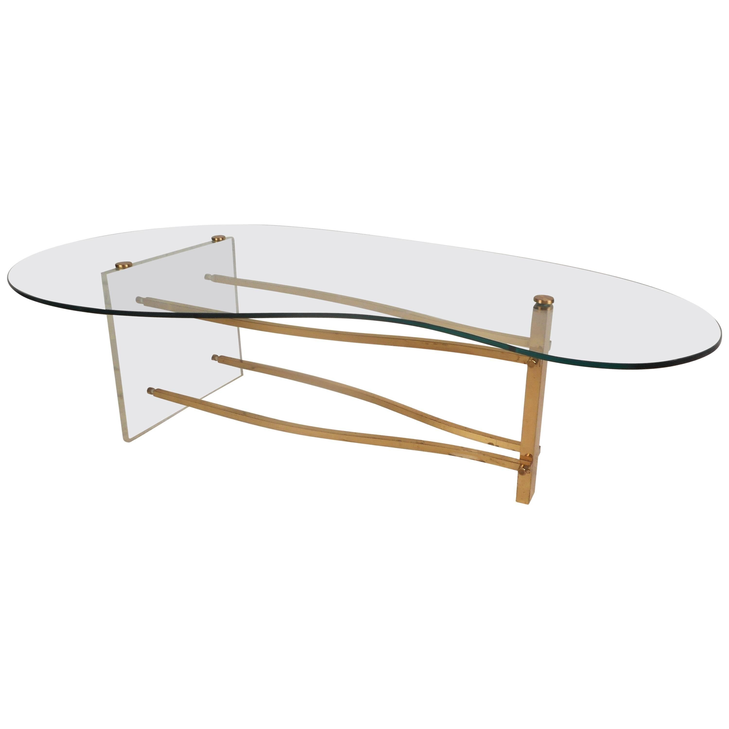 Fantastically Simple Frosted Lucite Wave Coffee Table Mid Century Modern For