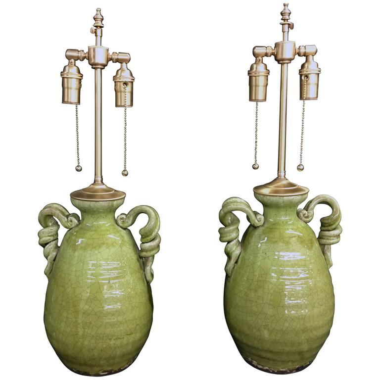Unusual pair of apple green crackle glazed urns with lamp for Quirky items for sale