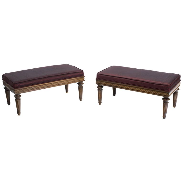 Pair of Regency Style Upholstered Benches