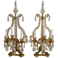 Pair of 19th Century, Louis XVI Style Gilt Bronze and Rock Crystal Candelabra