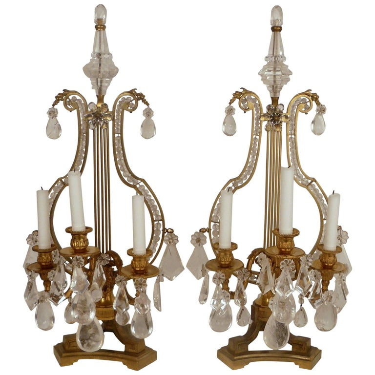 Pair of 19th Century, Louis XVI Style Gilt Bronze and Rock Crystal Candelabra For Sale