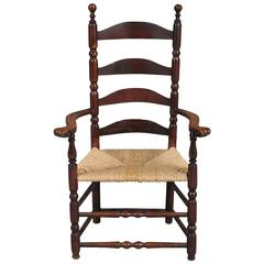Rare Queen Anne Ladder-Back Carved Knuckle Armchair