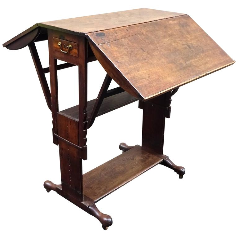 Exceptional Rare Early 18th Century English Walnut Industrial Drafting Table 1