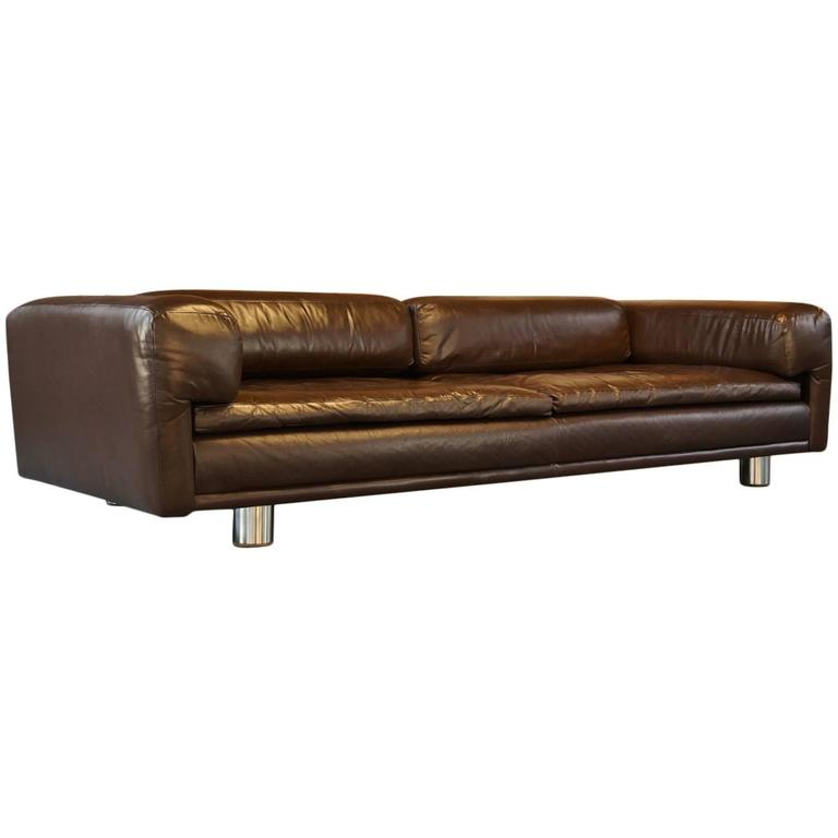 vintage brown leather sofa vintage 1970s hk diplomat sofa or settee or by 6782