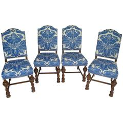 1920s Dining Chairs with Blue and White Stroheim Damask Linen, Set of Four
