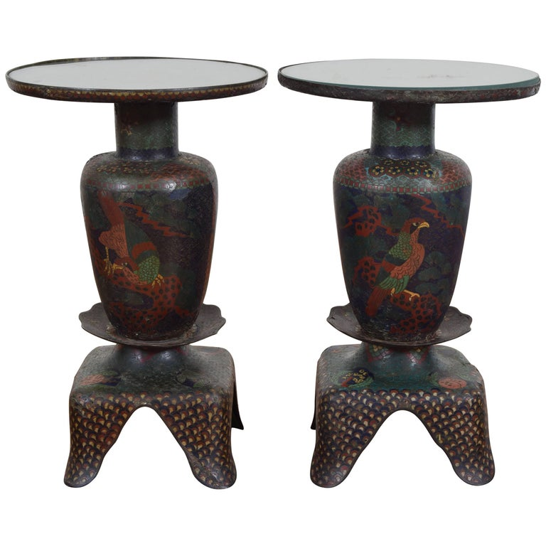 Cloison Stand Of Pair Of Cloisonn Plant Stands Turn Of The 20th Century