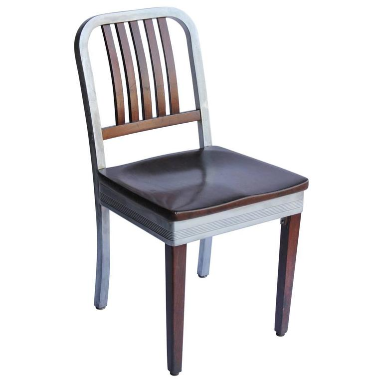 S aluminum and wood chair by shaw walker for sale at