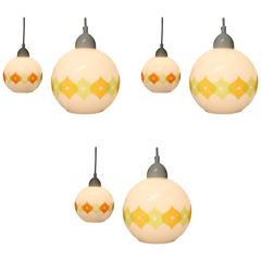 Set of Six French Mid-Century Modern Pendant Lights by Cvv Vianne Co.