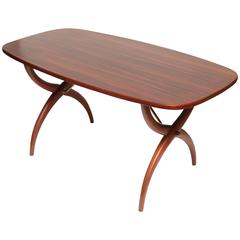 Rosewood & Brass Curved Leg Coffee Table by Yngve Ekström for Westbergs, Sweden