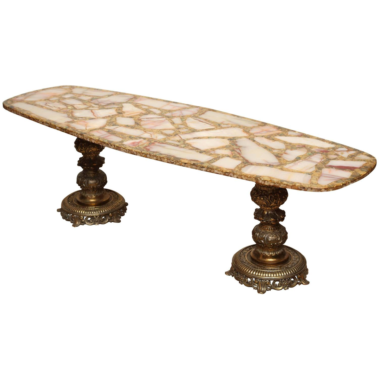 Gold Leaf and Black Glass Mosaic Quatrefoil Coffee Table on Bronze