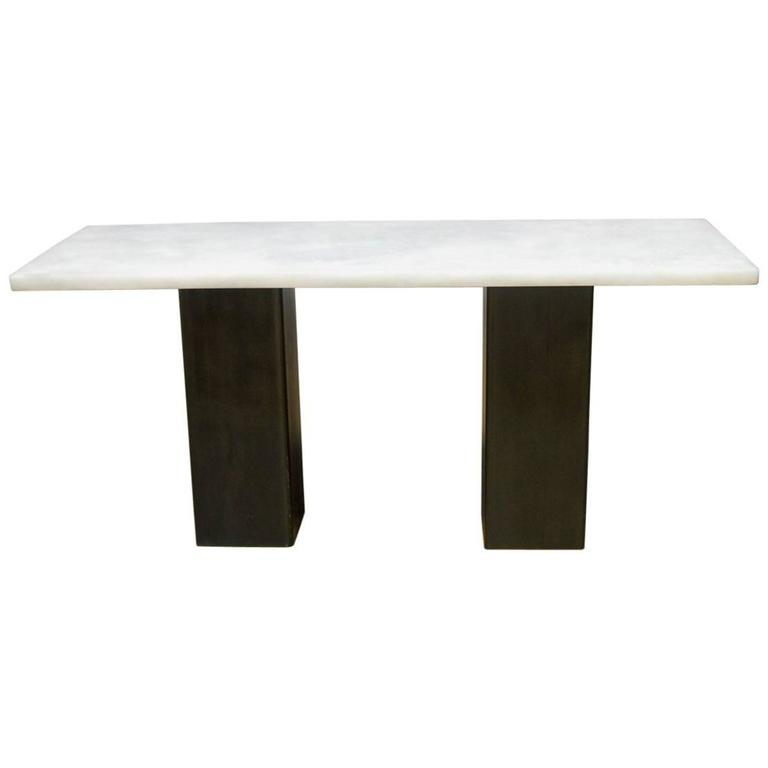 Modern Faux Marble and Steel Double Pedestal Console