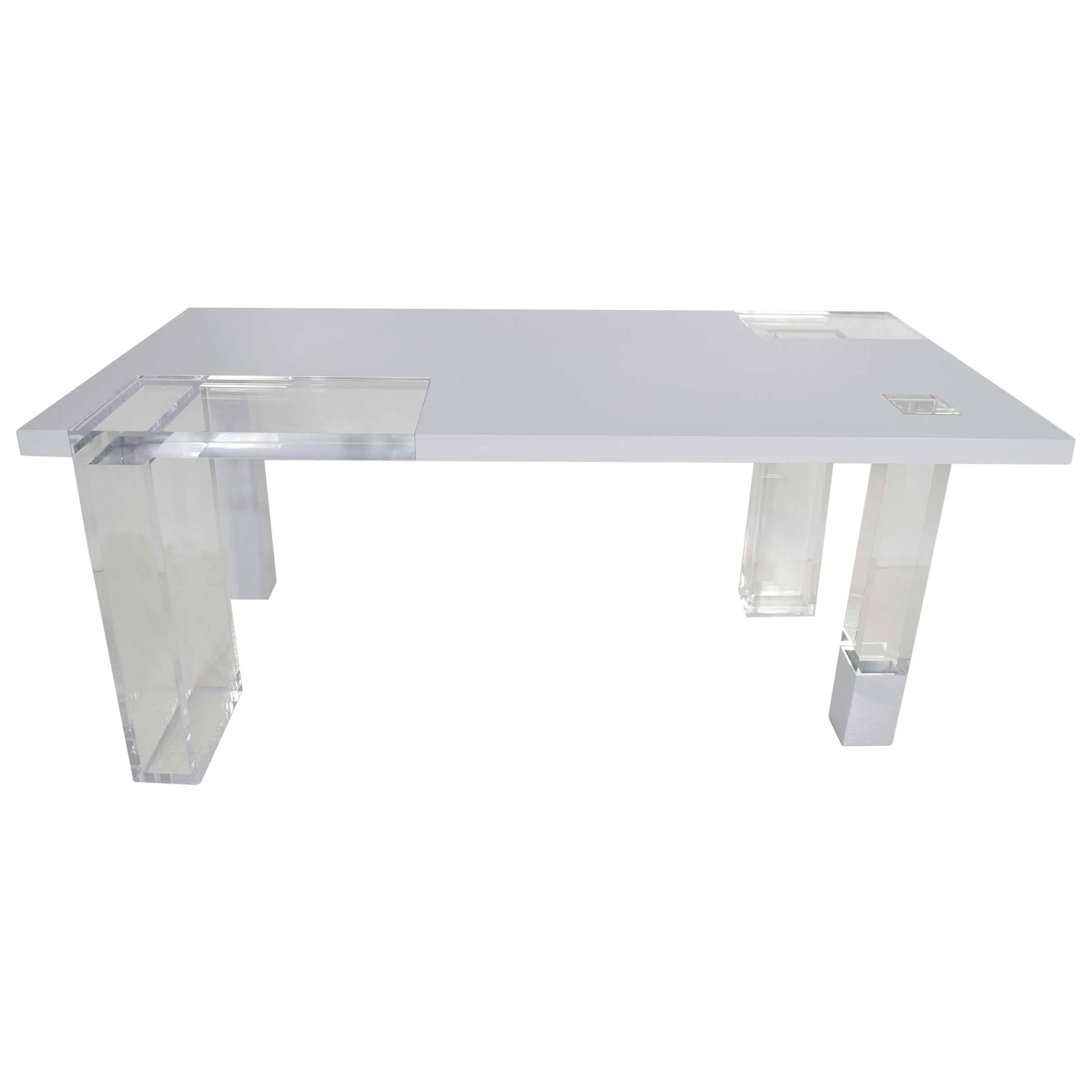 Unique Signed Lucite and White Lacquer Desk or Table