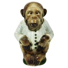Majolica Monkey Pitcher Keller and Guerin Saint Clement, circa 1900