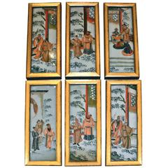 Set of Six Early 20th Century Chinese Reverse Painting on Glass Paintings