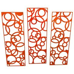 Indoor or Outdoor Steel Wall-Hanging Triptych in Vibrant Orange Powder-Coat