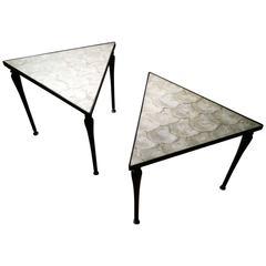 Vintage Designer iron & Capiz Shell Triangle Tables Hollywood regency