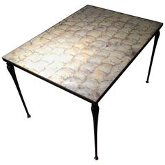 Vintage Designer Iron & Capiz Shell Coffee Table Hollywood regency