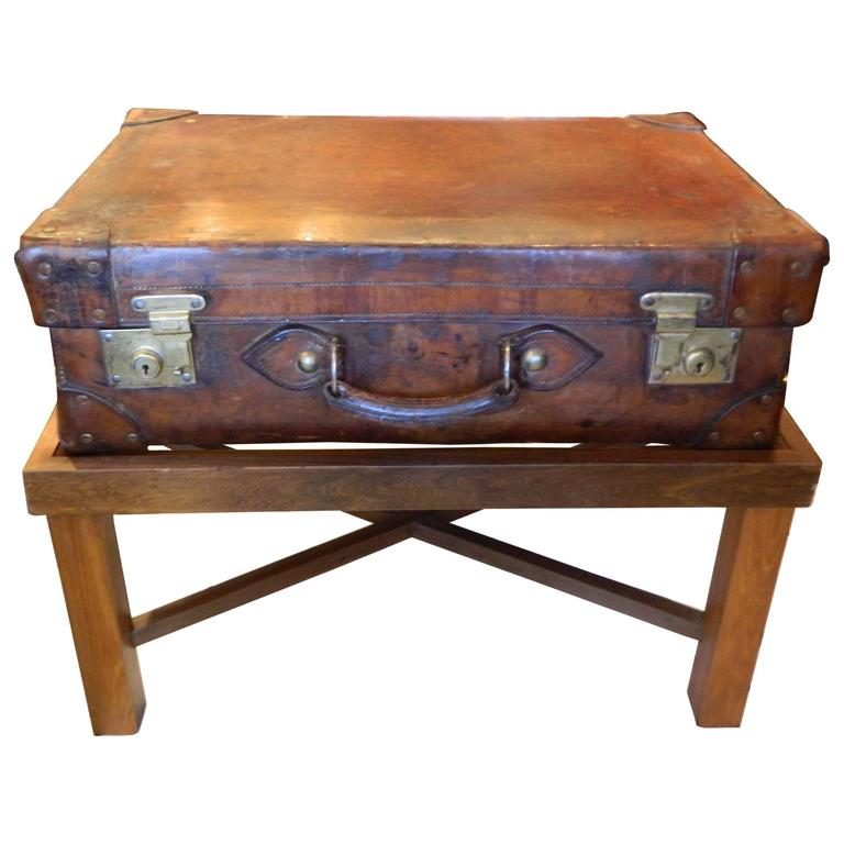 English Leather Suitcase Adapted as a Coffee Table on Later Stand, 19th Century