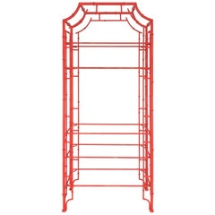 Chinese Chippendale Pagoda Faux Bamboo Iron Etagere