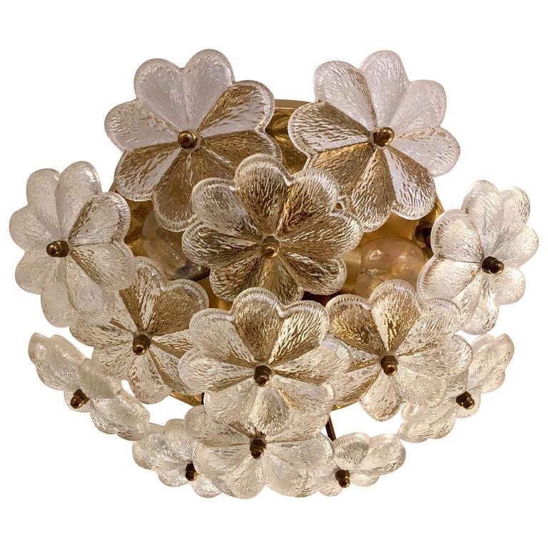 Austrian Palme Glass Floral Flush Ceiling or Wall Light, 1960s