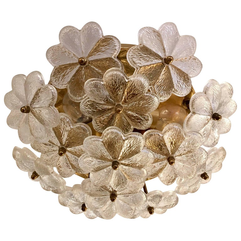 Austrian Palme Glass Floral Flush Ceiling or Wall Light, 1960s For Sale