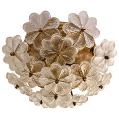 Austrian Palme Glass Floral Flush Ceiling or Wall Light, 1960s