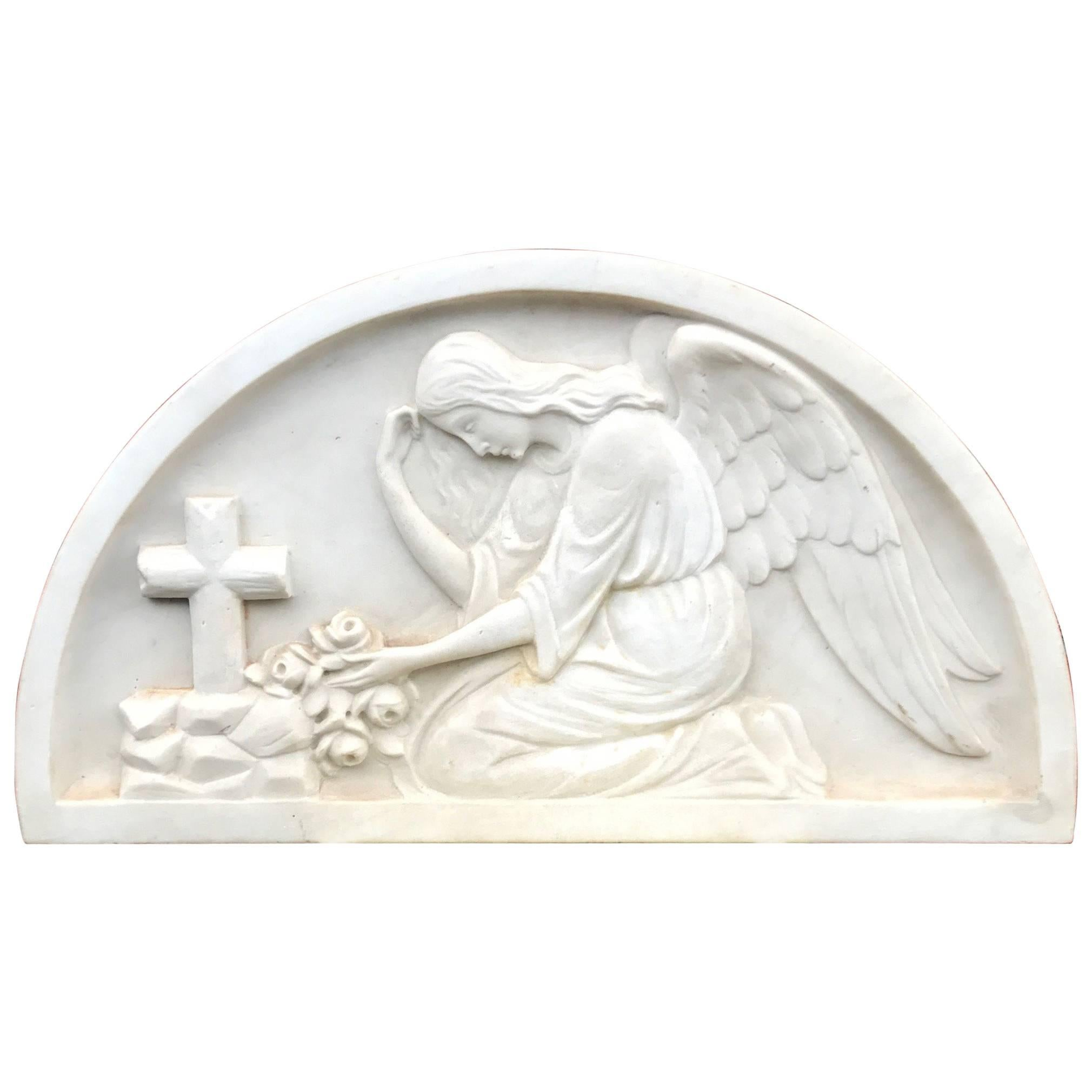 Early 1900 Fine Hand Crafted Marble Wall Plaque with Sculpture of Grieving Angel