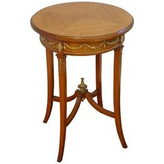 Empire Style Satinwood End Table / Gueridon with Carved and Gilt Guirlandes