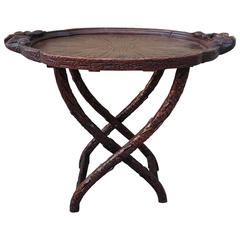 19th Century American Carved Oak Leaf Tray and Stand