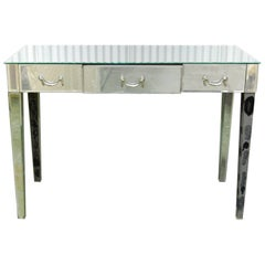 Mid-Century Mirrored Writing Table with Three Drawers
